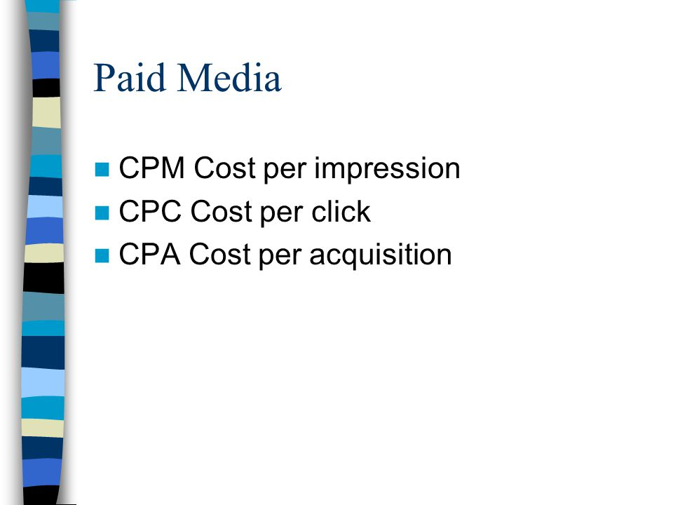 Paid Media CPM Cost per impression CPC Cost per click CPA Cost per acquisition