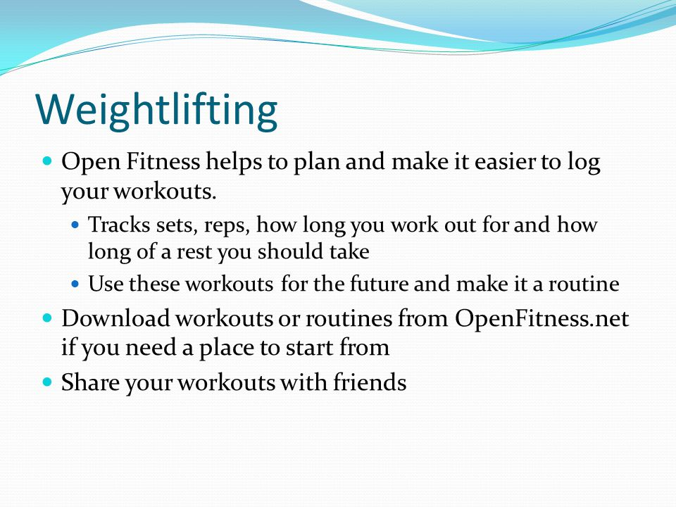 Weightlifting Open Fitness helps to plan and make it easier to log your workouts.