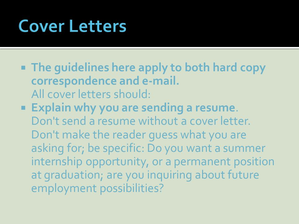 Types and Samples. You will use the Cover Letter handout for this ...