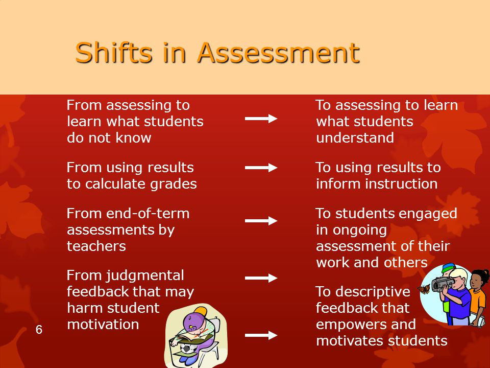 6 Shifts in Assessment To assessing to learn what students understand To using results to inform instruction To students engaged in ongoing assessment of their work and others To descriptive feedback that empowers and motivates students From assessing to learn what students do not know From using results to calculate grades From end-of-term assessments by teachers From judgmental feedback that may harm student motivation