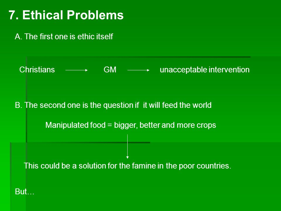7. Ethical Problems Christians GMunacceptable intervention A.