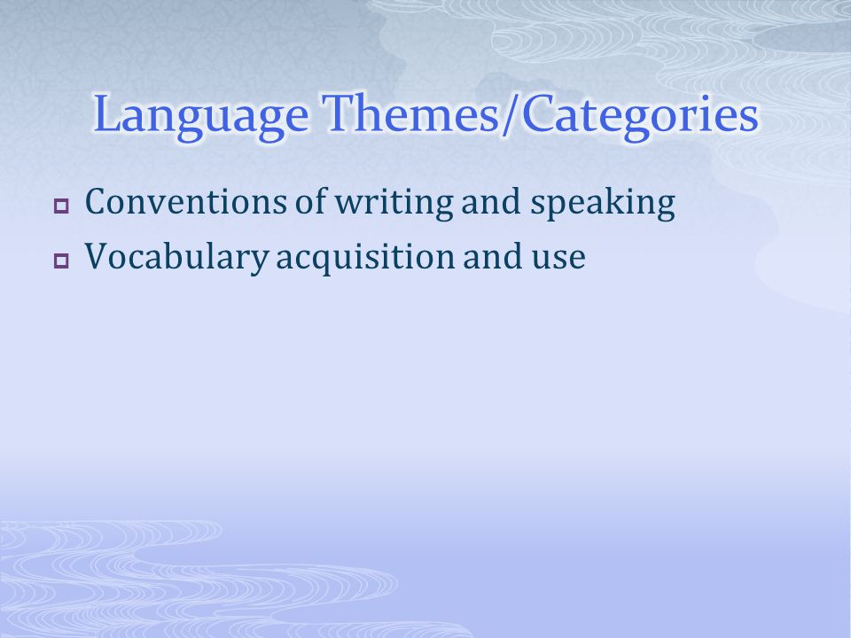  Conventions of writing and speaking  Vocabulary acquisition and use