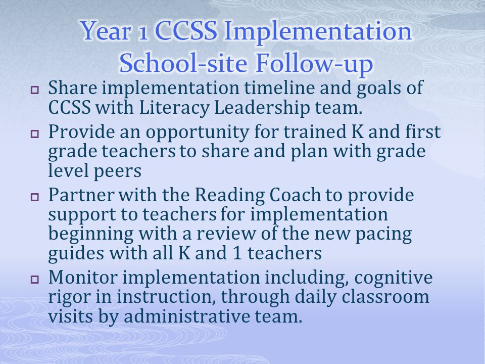  Share implementation timeline and goals of CCSS with Literacy Leadership team.