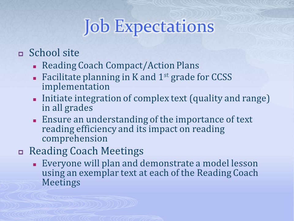  School site Reading Coach Compact/Action Plans Facilitate planning in K and 1 st grade for CCSS implementation Initiate integration of complex text (quality and range) in all grades Ensure an understanding of the importance of text reading efficiency and its impact on reading comprehension  Reading Coach Meetings Everyone will plan and demonstrate a model lesson using an exemplar text at each of the Reading Coach Meetings