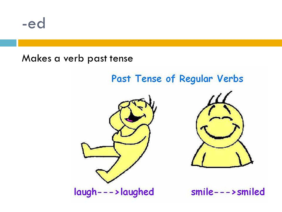 -ed Makes a verb past tense