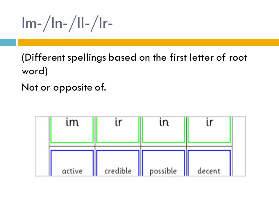 Im-/In-/Il-/Ir- (Different spellings based on the first letter of root word) Not or opposite of.