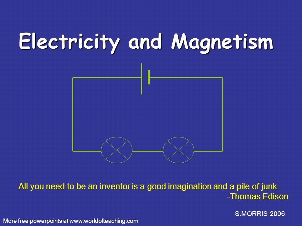S.MORRIS 2006 Electricity and Magnetism More free powerpoints at   All you need to be an inventor is a good imagination and a pile of junk.