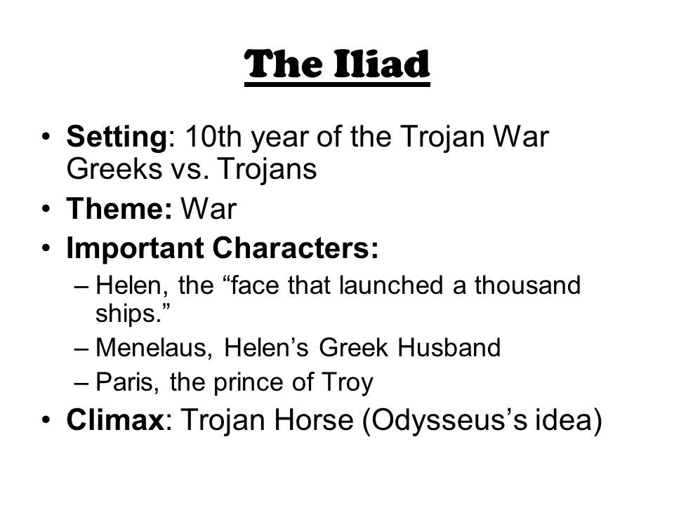 what is the setting of the iliad
