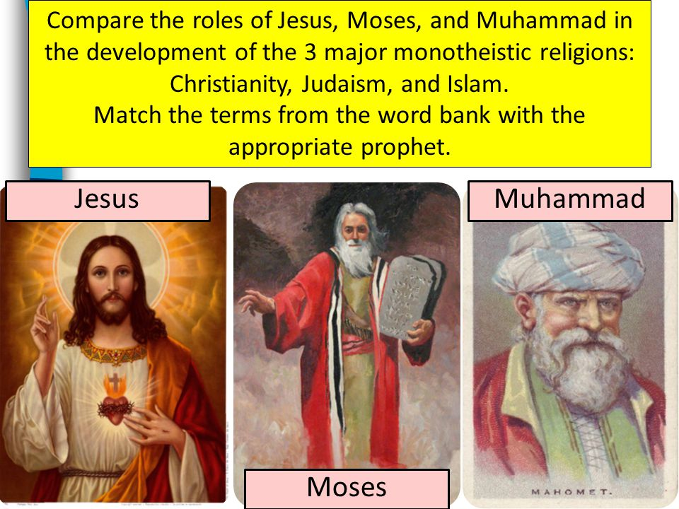 MuhammadJesus Moses Compare the roles of Jesus, Moses, and Muhammad in the development of the 3 major monotheistic religions: Christianity, Judaism, and Islam.