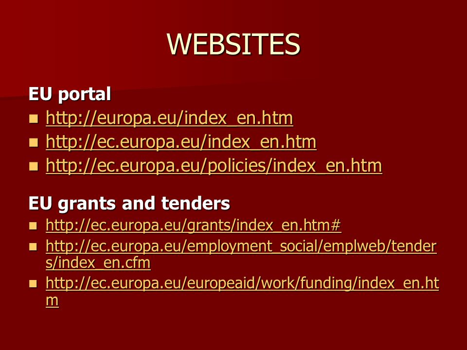 WEBSITES EU portal EU grants and tenders s/index_en.cfm   s/index_en.cfm   s/index_en.cfm   s/index_en.cfm   m   m   m   m