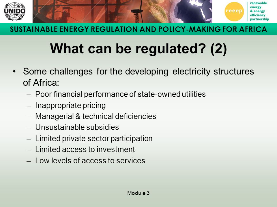 SUSTAINABLE ENERGY REGULATION AND POLICY-MAKING FOR AFRICA Module 3 What can be regulated.