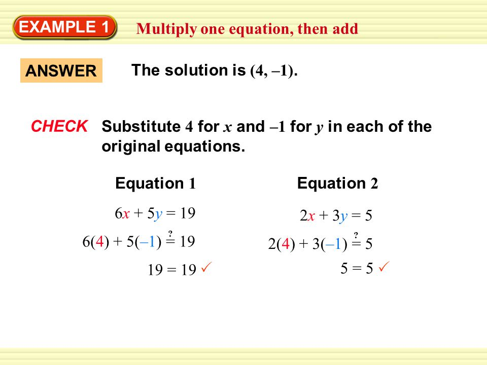 EXAMPLE 1 Multiply one equation, then add ANSWER The solution is (4, –1).