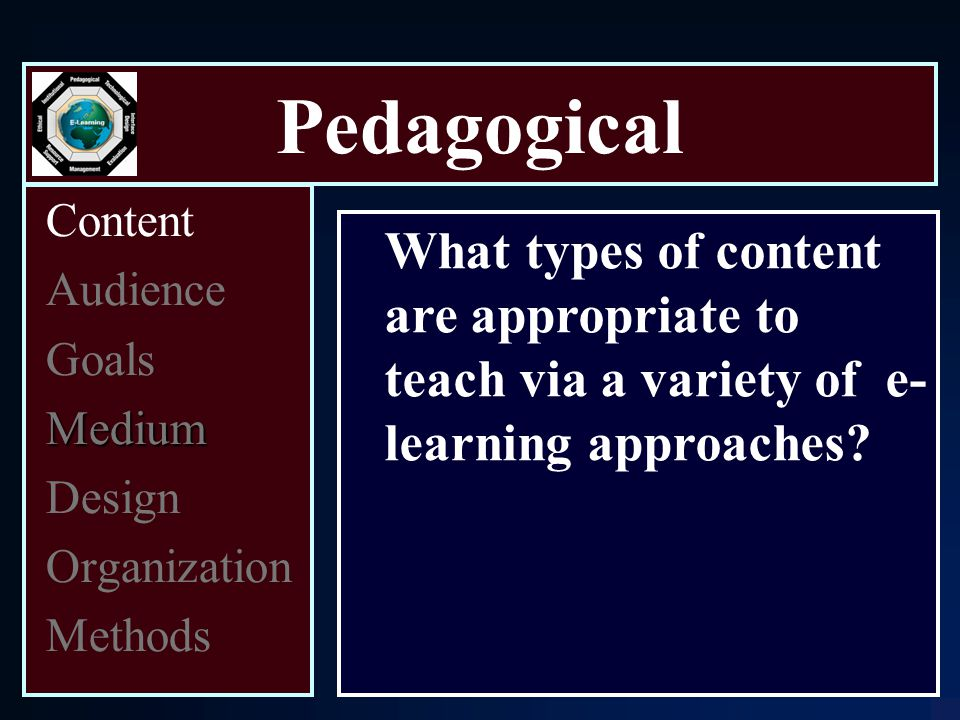 Pedagogical Content Audience Goals Medium Design Organization Methods What types of content are appropriate to teach via a variety of e- learning approaches