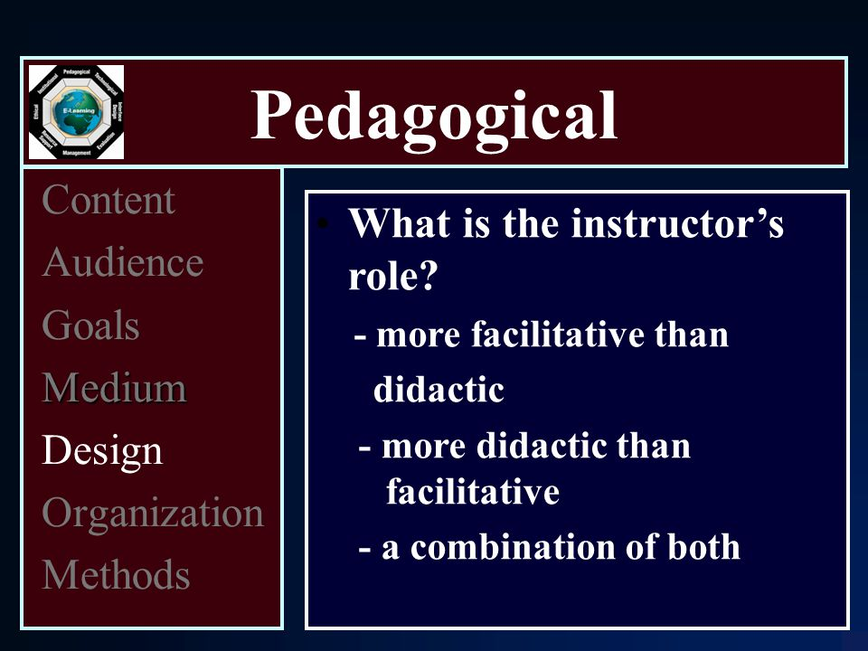 Pedagogical Content Audience Goals Medium Design Organization Methods What is the instructor's role.