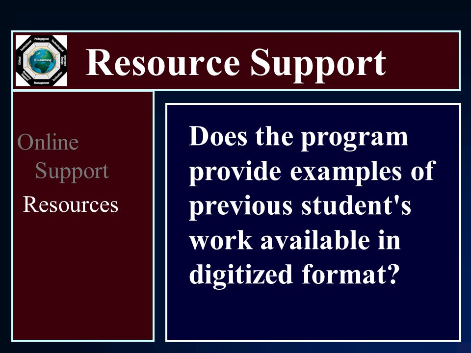 Resource Support Online Support Resources Does the program provide examples of previous student s work available in digitized format
