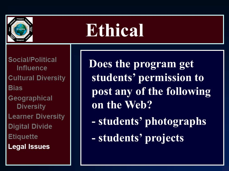 Ethical Social/Political Influence Cultural Diversity Bias Geographical Diversity Learner Diversity Digital Divide Etiquette Legal Issues Does the program get students' permission to post any of the following on the Web.