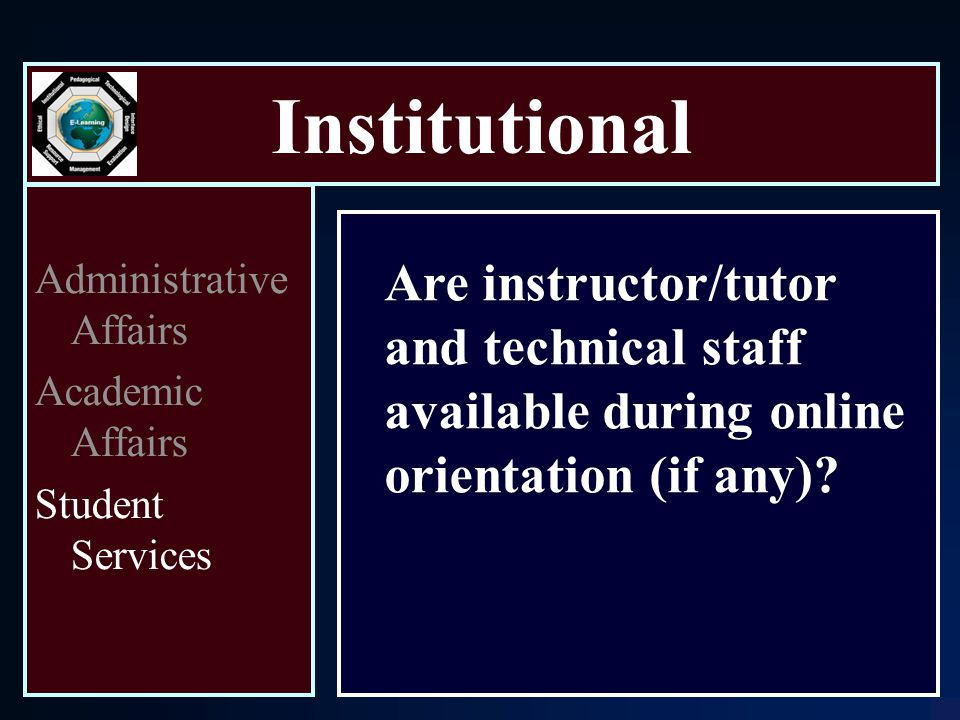 Institutional Are instructor/tutor and technical staff available during online orientation (if any).