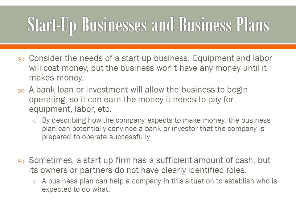 A business plan is a companys blueprint for success this blueprint consider the needs of a start up business malvernweather Choice Image