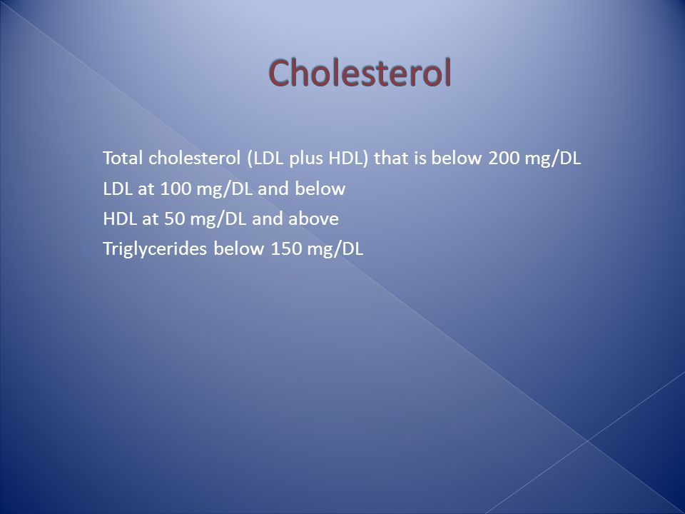 o Total cholesterol (LDL plus HDL) that is below 200 mg/DL o LDL at 100 mg/DL and below o HDL at 50 mg/DL and above o Triglycerides below 150 mg/DL