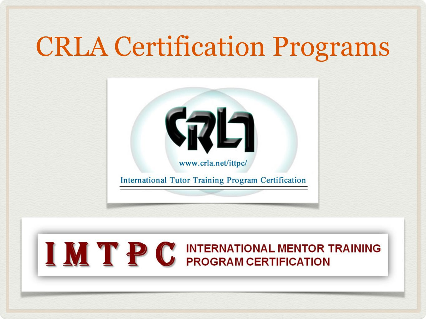 International Mentor Training Program Certification Page Keller