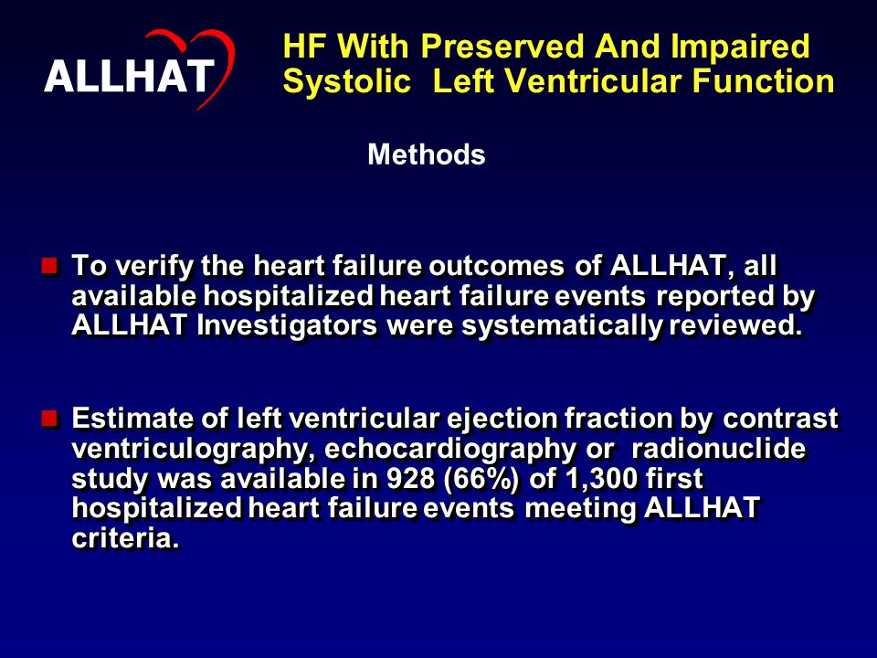 HF With Preserved And Impaired Systolic Left Ventricular Function To verify the heart failure outcomes of ALLHAT, all available hospitalized heart failure events reported by ALLHAT Investigators were systematically reviewed.