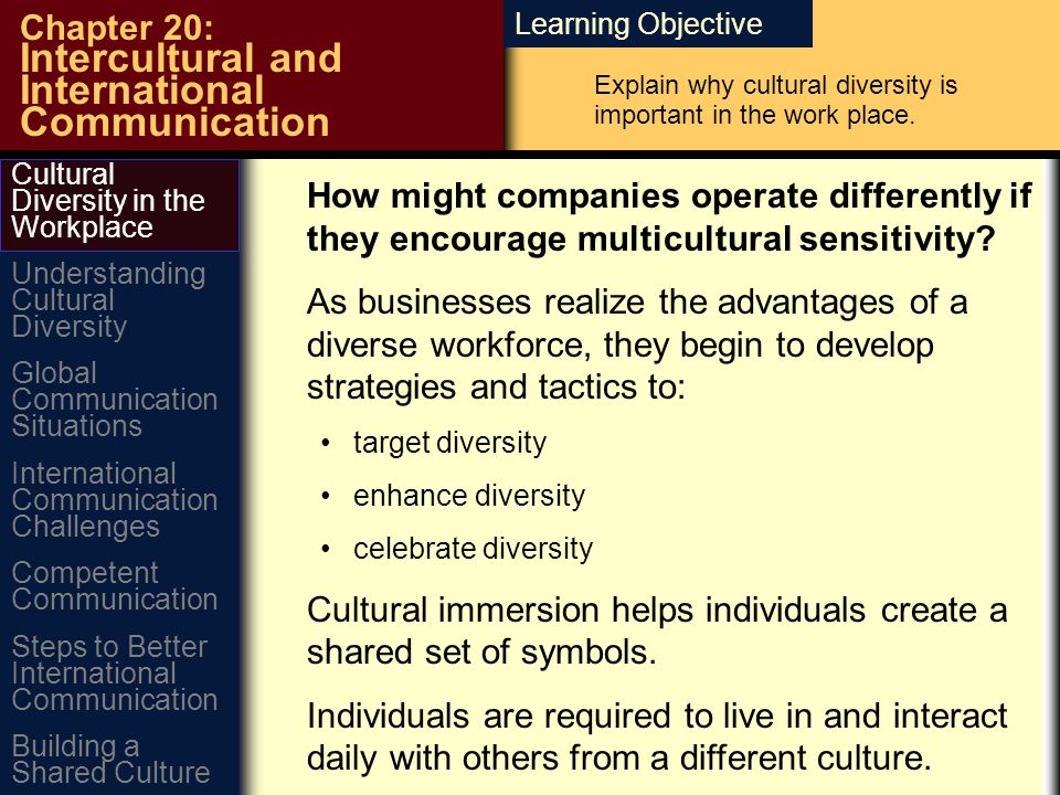Learning Objective Chapter 20: Intercultural and International Communication How might companies operate differently if they encourage multicultural sensitivity.