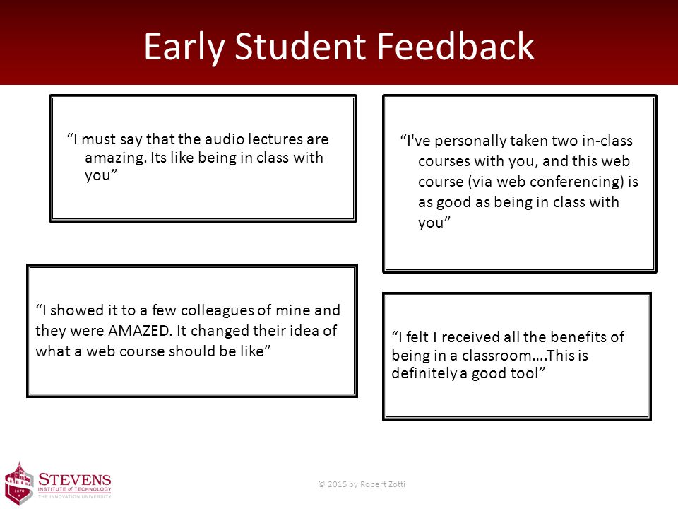 Early Student Feedback I must say that the audio lectures are amazing.