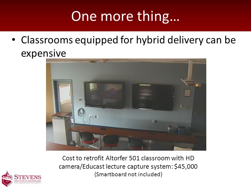 One more thing… Classrooms equipped for hybrid delivery can be expensive Cost to retrofit Altorfer 501 classroom with HD camera/Educast lecture capture system: $45,000 (Smartboard not included)