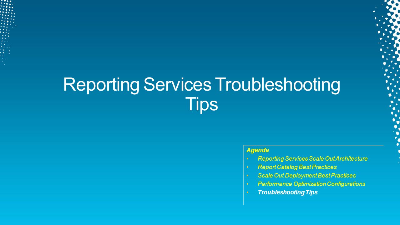 DBI405. Agenda Reporting Services Scale Out Architecture Report Catalog Best Practices Scale Out Deployment Best Practices Performance Optimization. - ppt download - 웹