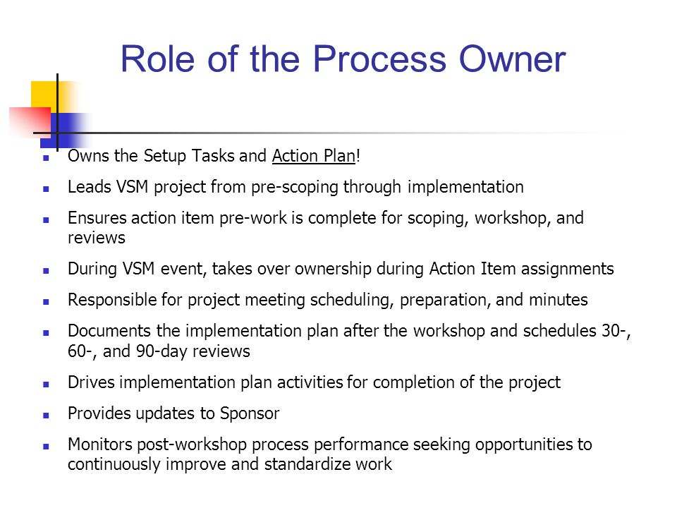 Role of the Process Owner Owns the Setup Tasks and Action Plan.