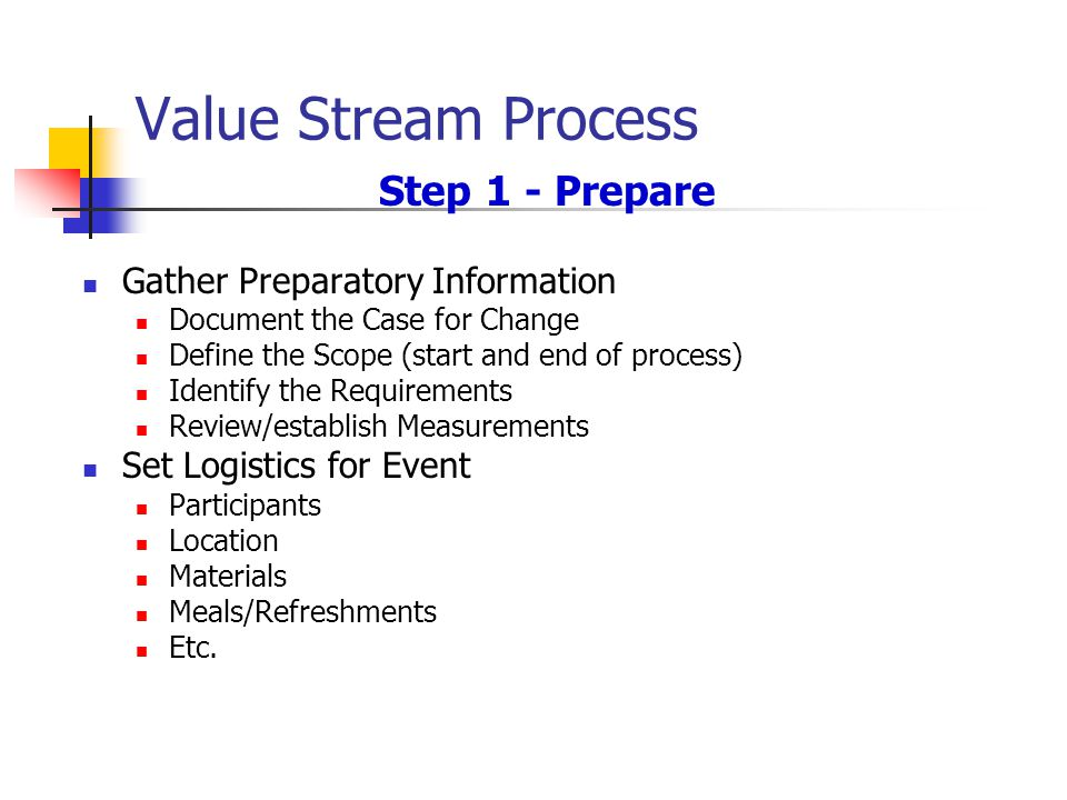 Value Stream Process Step 1 - Prepare Gather Preparatory Information Document the Case for Change Define the Scope (start and end of process) Identify the Requirements Review/establish Measurements Set Logistics for Event Participants Location Materials Meals/Refreshments Etc.