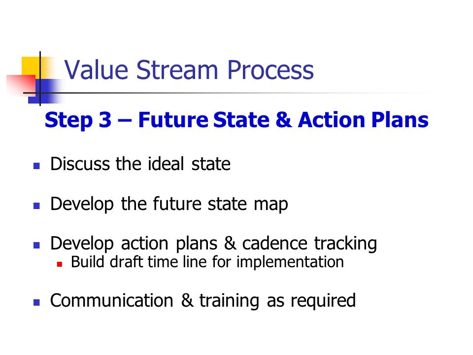 Value Stream Process Step 3 – Future State & Action Plans Discuss the ideal state Develop the future state map Develop action plans & cadence tracking Build draft time line for implementation Communication & training as required