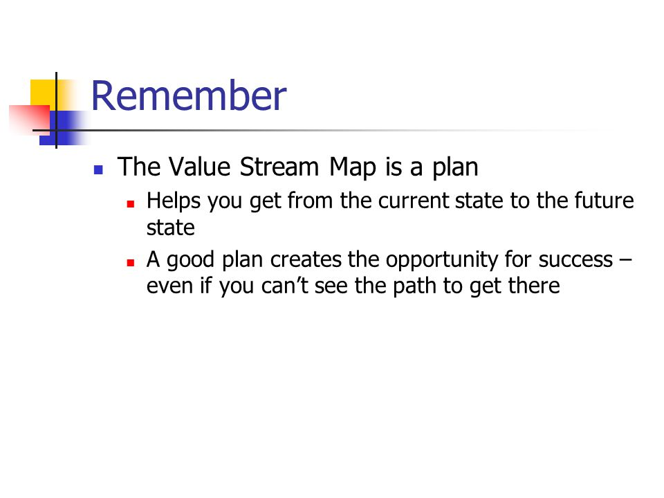 Remember The Value Stream Map is a plan Helps you get from the current state to the future state A good plan creates the opportunity for success – even if you can't see the path to get there