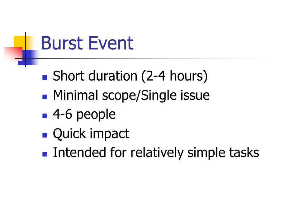 Burst Event Short duration (2-4 hours) Minimal scope/Single issue 4-6 people Quick impact Intended for relatively simple tasks