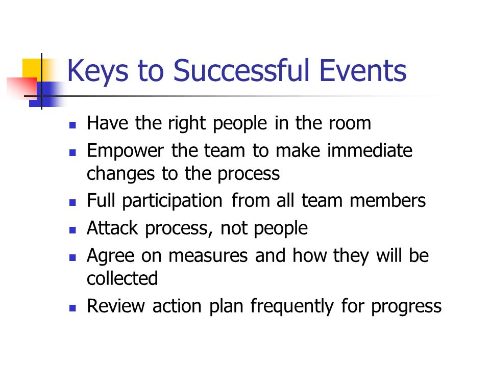 Keys to Successful Events Have the right people in the room Empower the team to make immediate changes to the process Full participation from all team members Attack process, not people Agree on measures and how they will be collected Review action plan frequently for progress