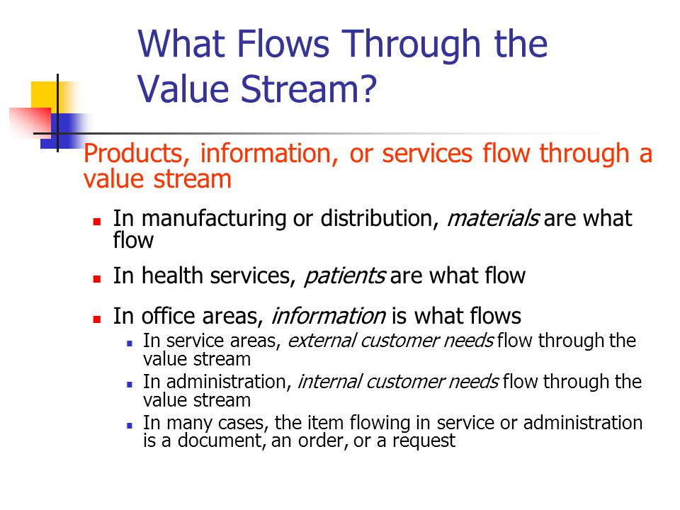 Products, information, or services flow through a value stream In manufacturing or distribution, materials are what flow In health services, patients are what flow In office areas, information is what flows In service areas, external customer needs flow through the value stream In administration, internal customer needs flow through the value stream In many cases, the item flowing in service or administration is a document, an order, or a request What Flows Through the Value Stream