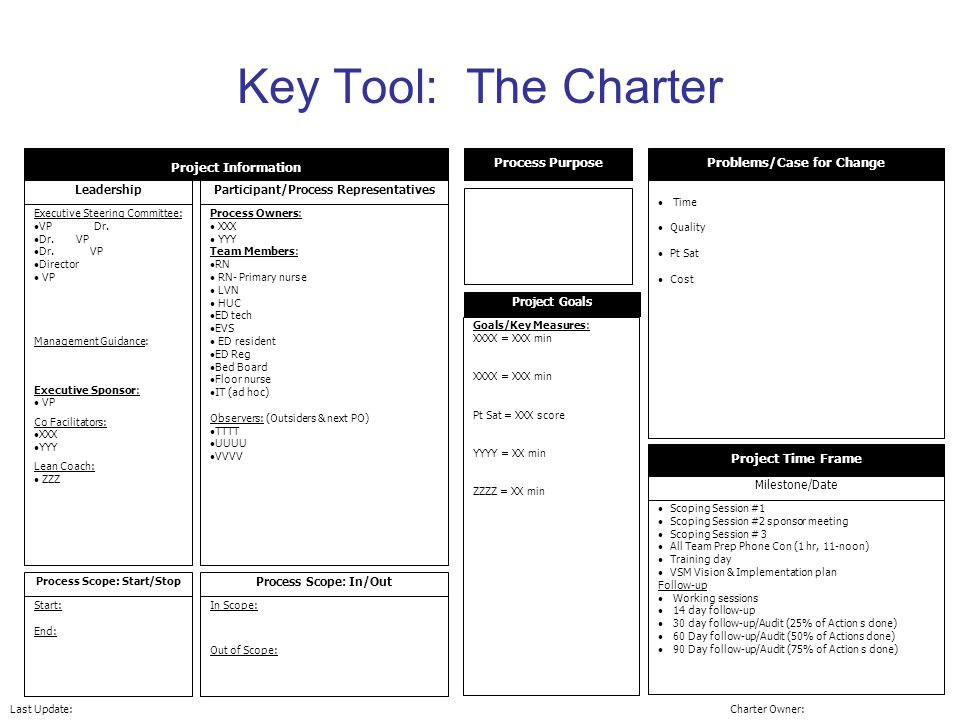 Key Tool: The Charter Project Information Leadership Executive Steering Committee: VP Dr.