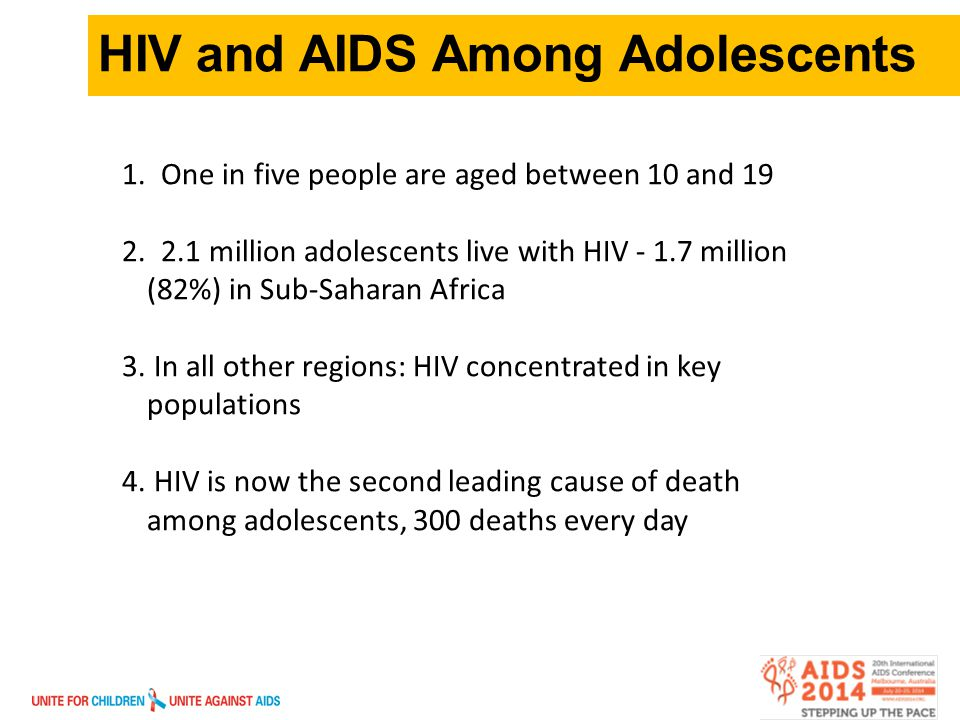 3 HIV and AIDS Among Adolescents 1. One in five people are aged between 10 and