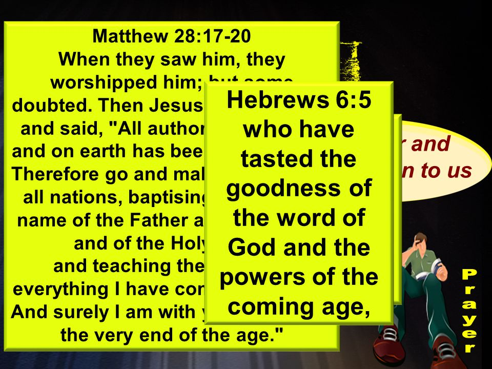 Important Truth Jesus did everything in the power of the Spirit Same power and Authority given to us Touching the powers of the coming age Acts 10:38 how God anointed Jesus of Nazareth with the Holy Spirit and power, and how he went around doing good and healing all who were under the power of the devil, because God was with him.