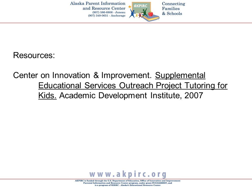 Resources: Center on Innovation & Improvement.