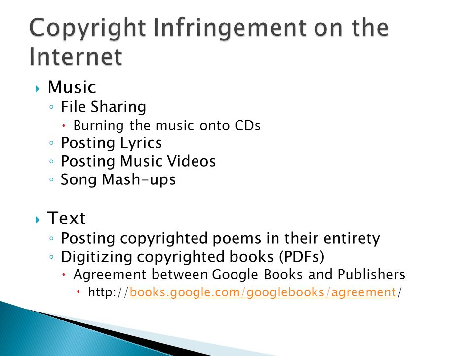 Innocent Infringement Occurs when an individual unknowingly violates copyright.