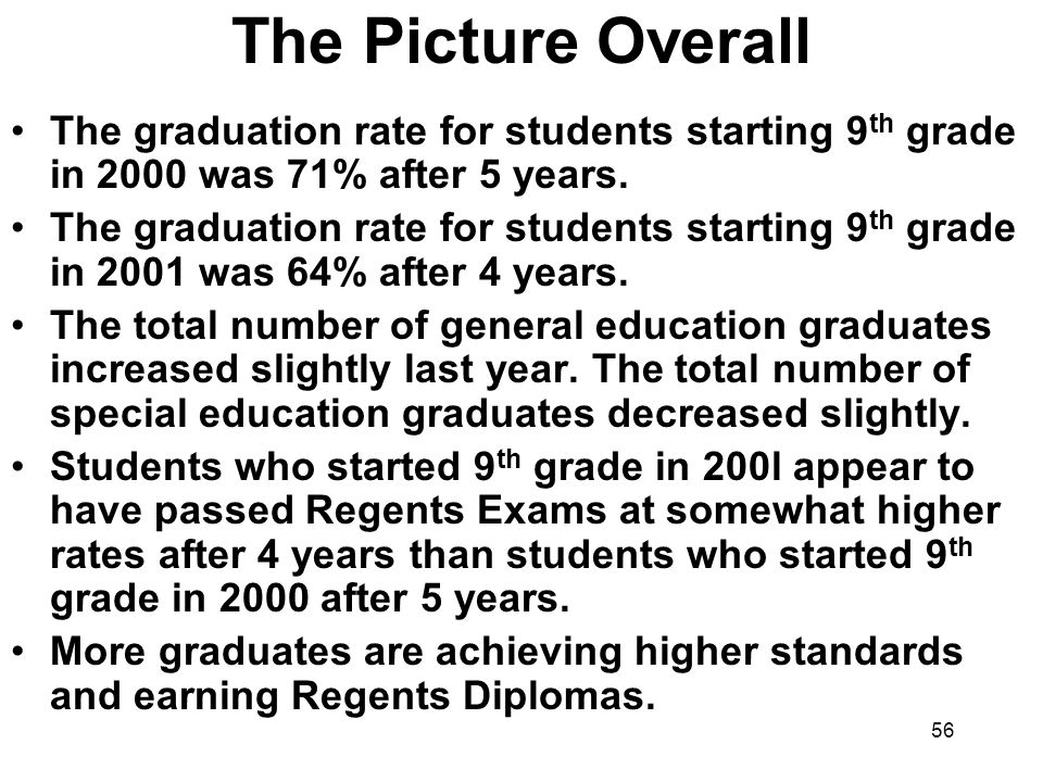 56 The Picture Overall The graduation rate for students starting 9 th grade in 2000 was 71% after 5 years.