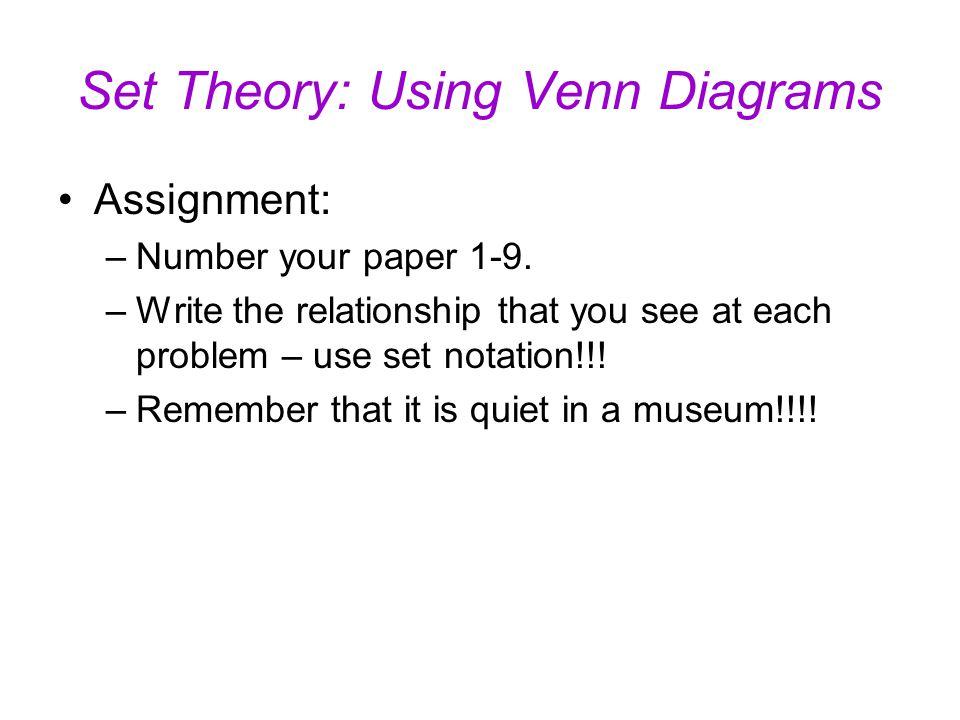Set Theory Using Venn Diagrams Universal Set U The Set Of All