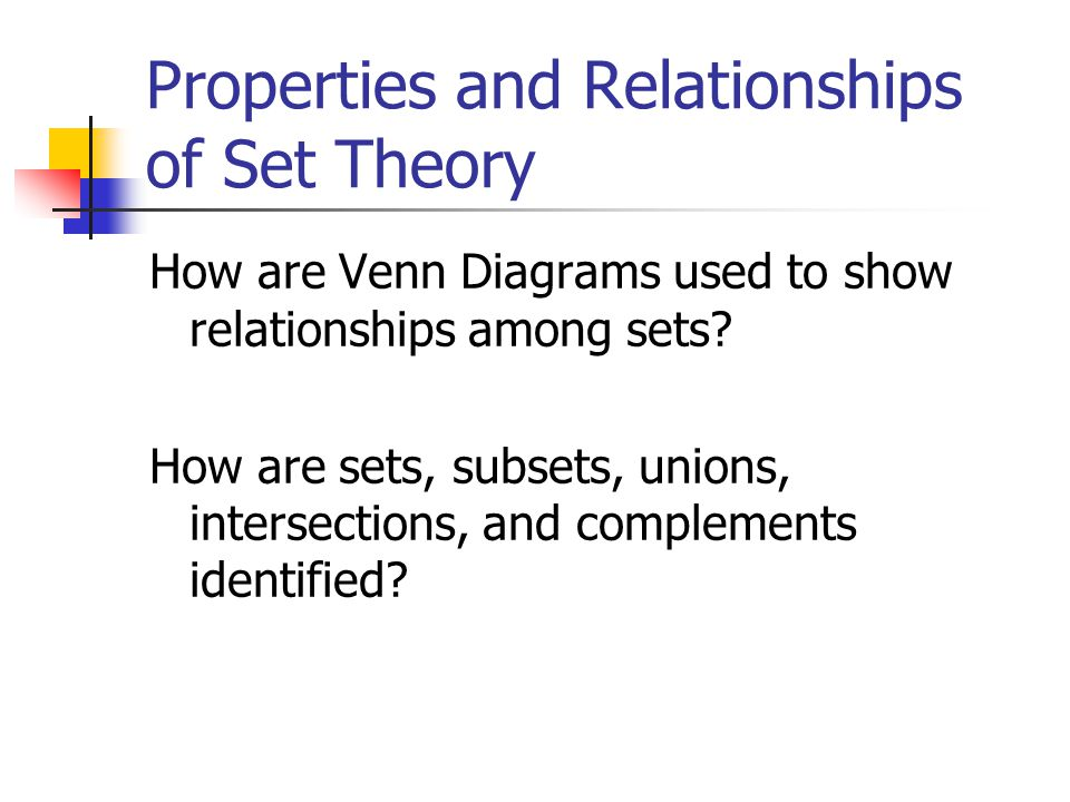 Properties And Relationships Of Set Theory Properties And