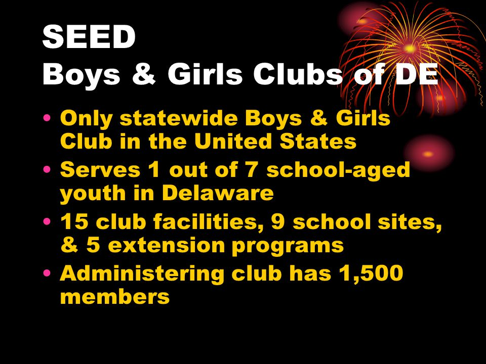 SEED Boys & Girls Clubs of DE Only statewide Boys & Girls Club in the United States Serves 1 out of 7 school-aged youth in Delaware 15 club facilities, 9 school sites, & 5 extension programs Administering club has 1,500 members