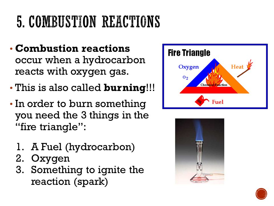 Combustion reactions occur when a hydrocarbon reacts with oxygen gas.