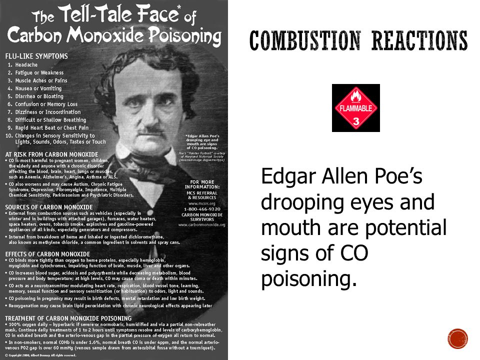 Edgar Allen Poe's drooping eyes and mouth are potential signs of CO poisoning.