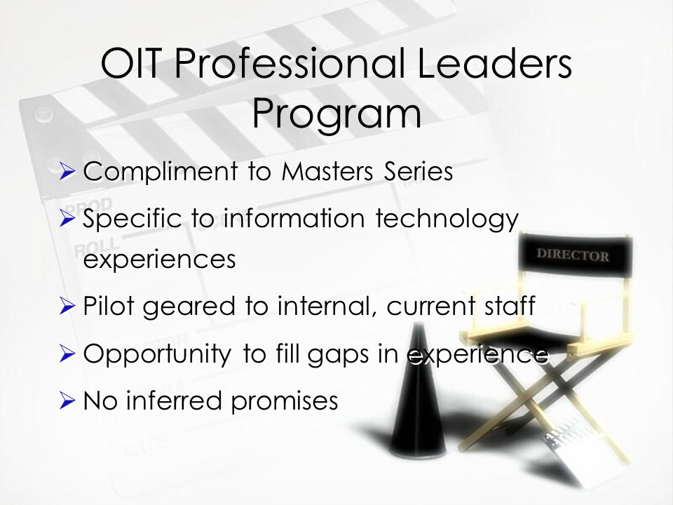 OIT Professional Leaders Program  Compliment to Masters Series  Specific to information technology experiences  Pilot geared to internal, current staff  Opportunity to fill gaps in experience  No inferred promises  Compliment to Masters Series  Specific to information technology experiences  Pilot geared to internal, current staff  Opportunity to fill gaps in experience  No inferred promises