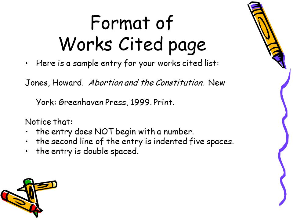 works cited page what resources have you used what is a works