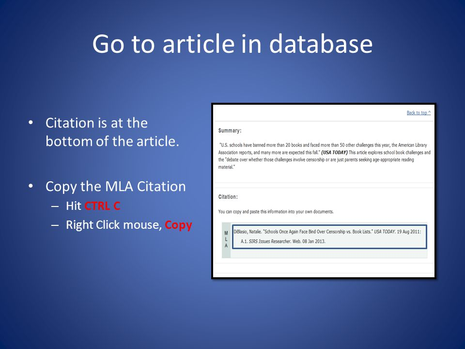 Go to article in database Citation is at the bottom of the article.